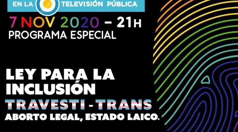 XXIX Marcha del Orgullo Ley para la Inclusión Travesti-Trans. Aborto Legal. Estado Laico Marcha Virtual desde las redes y en la TV Pública